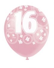 16th Birthday Pink Glitz Latex Balloons 12 inch